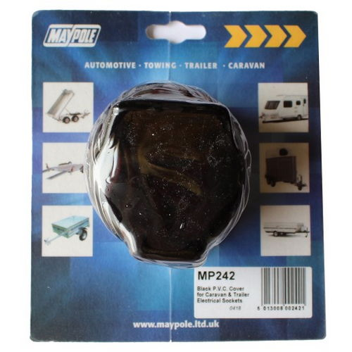 Black PVC Cover for Caravan & Trailer Sockets